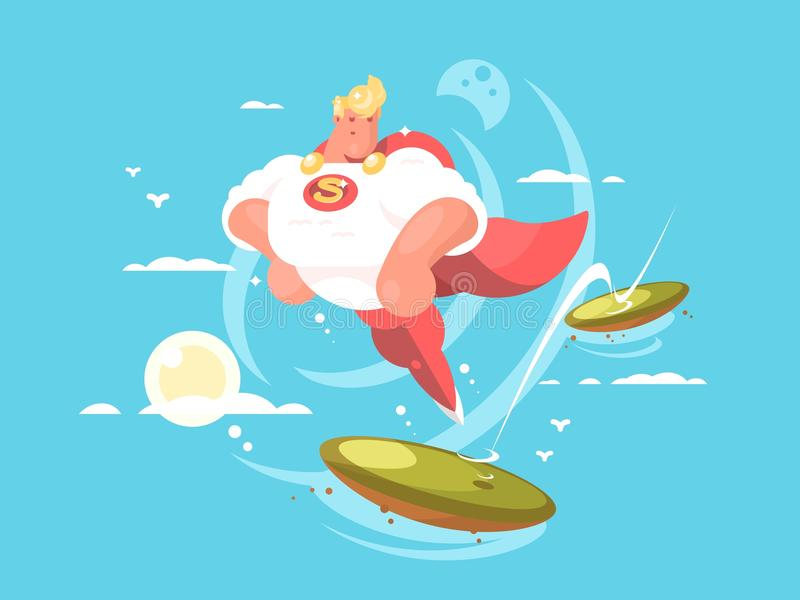 Cartoon superhero with cape. Flying in sky. Vector flat illustration stock illustration
