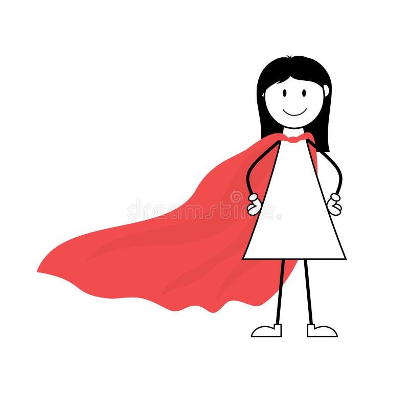 Cartoon superhero girl stick figure with red cape vector illustration