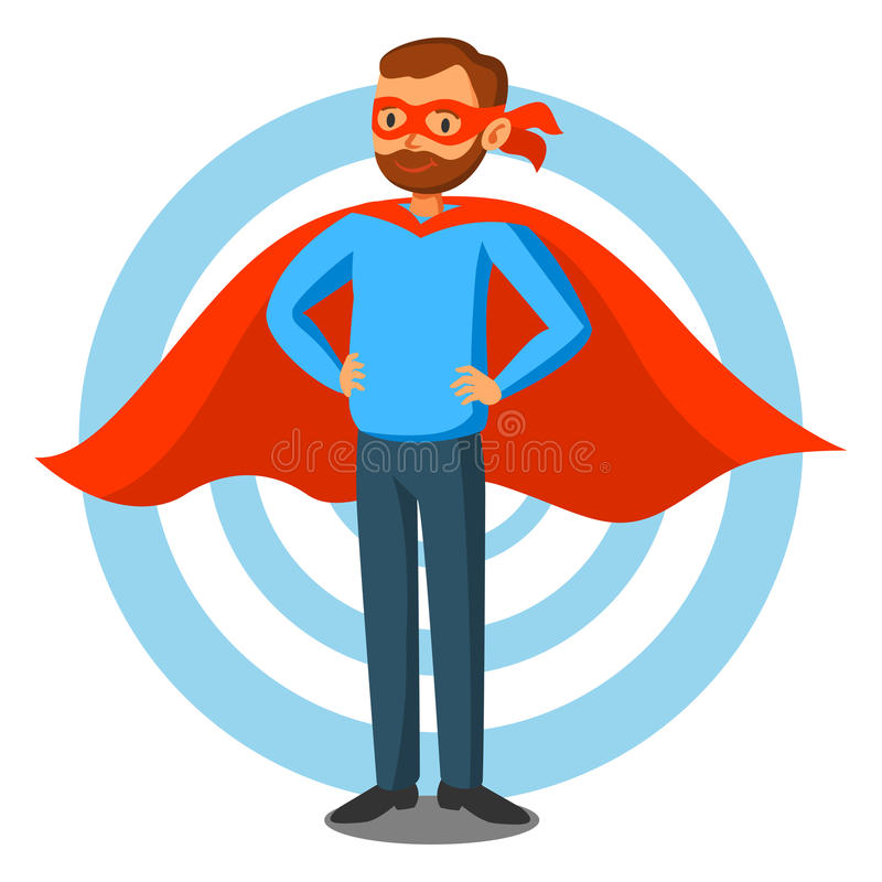 cartoon superhero man in red cape male superhero programmer stock rh dreamstime com superhero vector image licensing superhero vector art