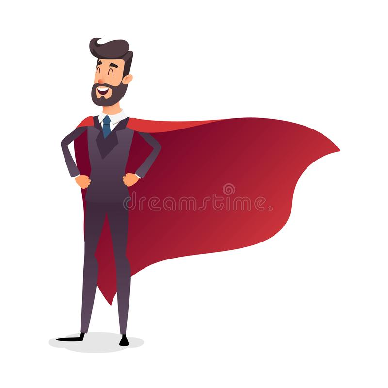 Cartoon superhero standing with cape waving in the wind. Successful happy hero businessman. Concept of success. Leadership and victory in business. Young vector illustration
