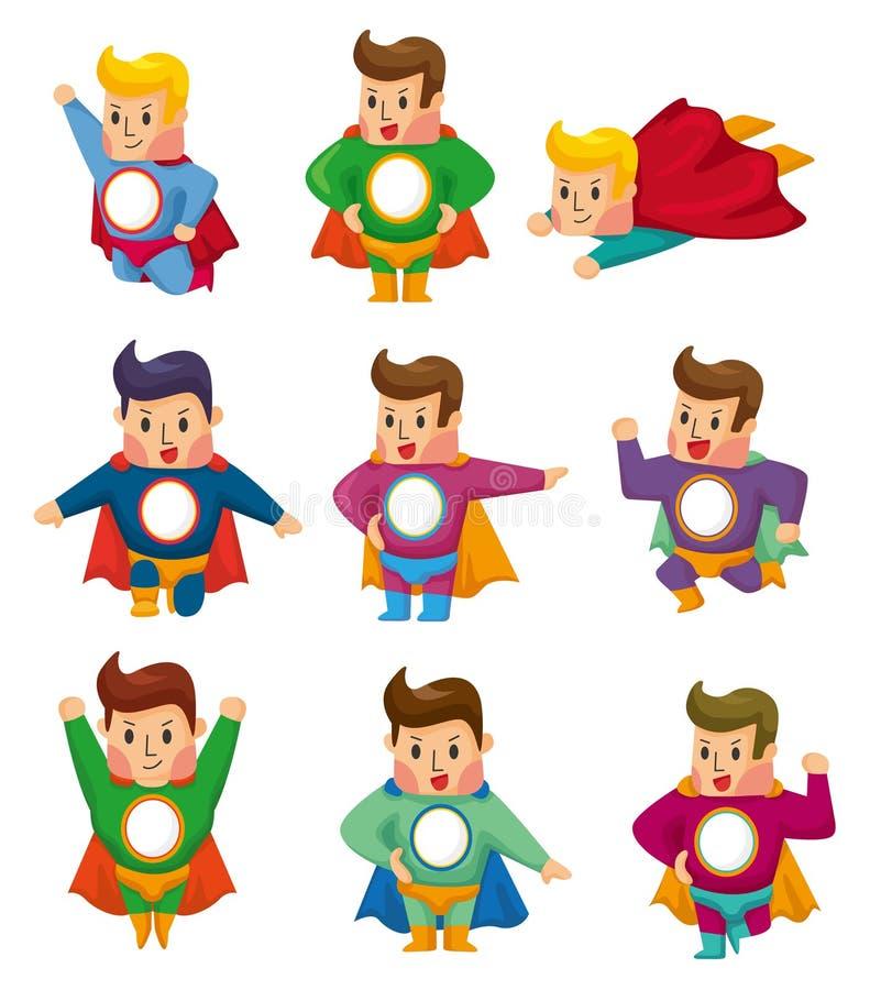 Cartoon superman icons royalty free illustration