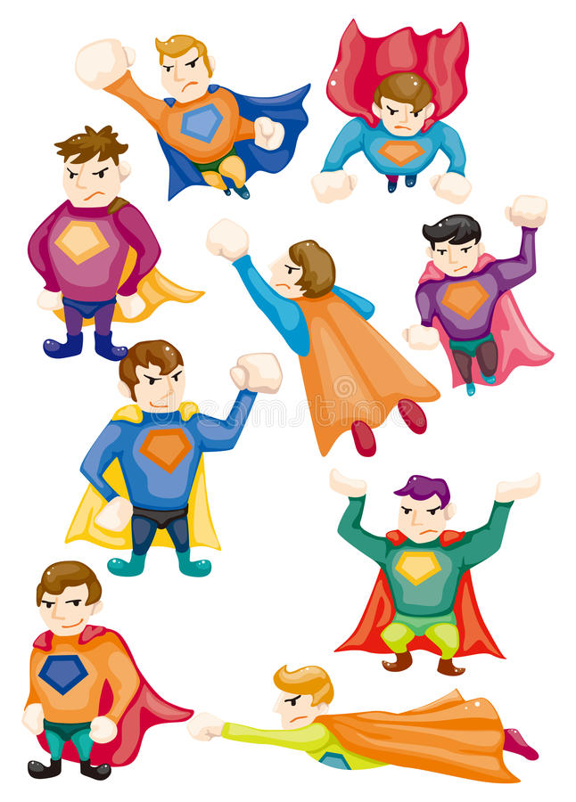 Cartoon superman icons stock illustration