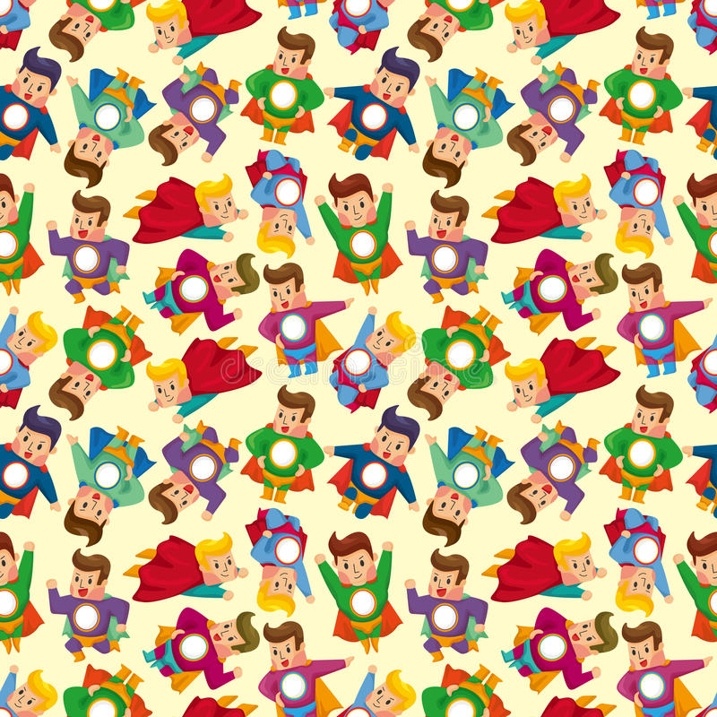 Cartoon superman seamless pattern vector illustration