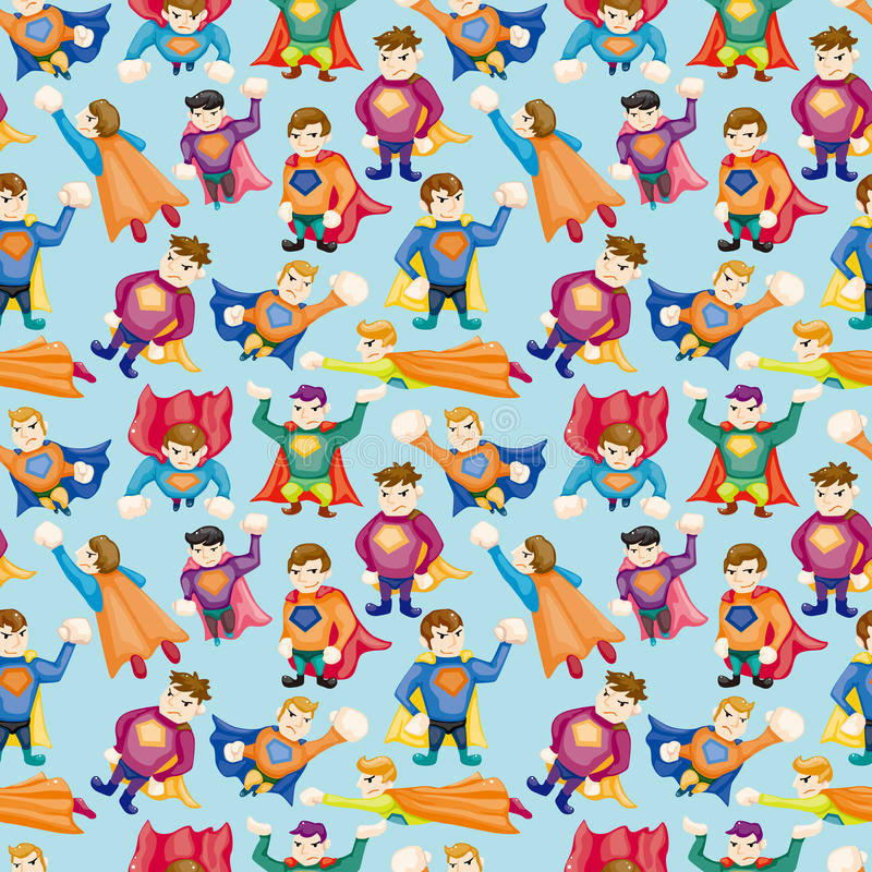 Cartoon superman seamless pattern royalty free illustration