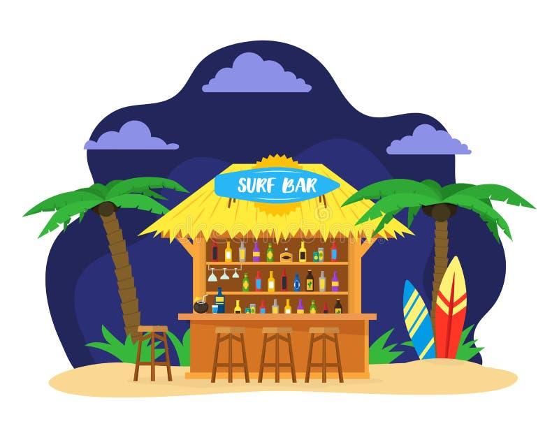 Cartoon Surf Beach Bar Summer Vacation Travel Concept. Vector. Cartoon Surf Beach Bar with Cocktail Drink and People Card Summer Vacation Travel Concept Flat royalty free illustration