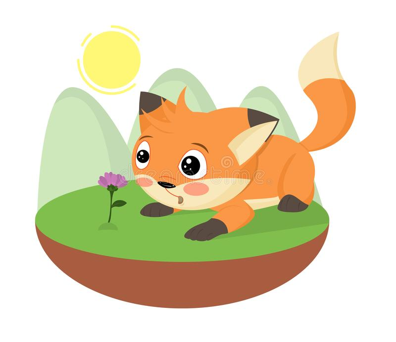 Cartoon surprised cute little fox found a flower. Hand drawn foxy. Cartoon character fluffy pet animal with beautiful tail, for ki vector illustration