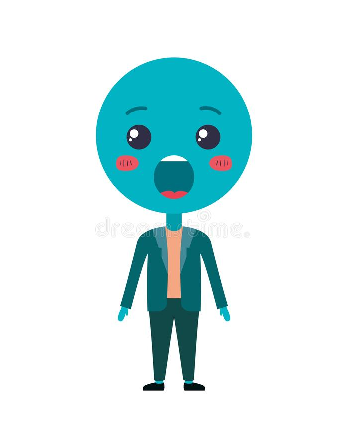 Cartoon surprised emoticon with body kawaii character stock illustration