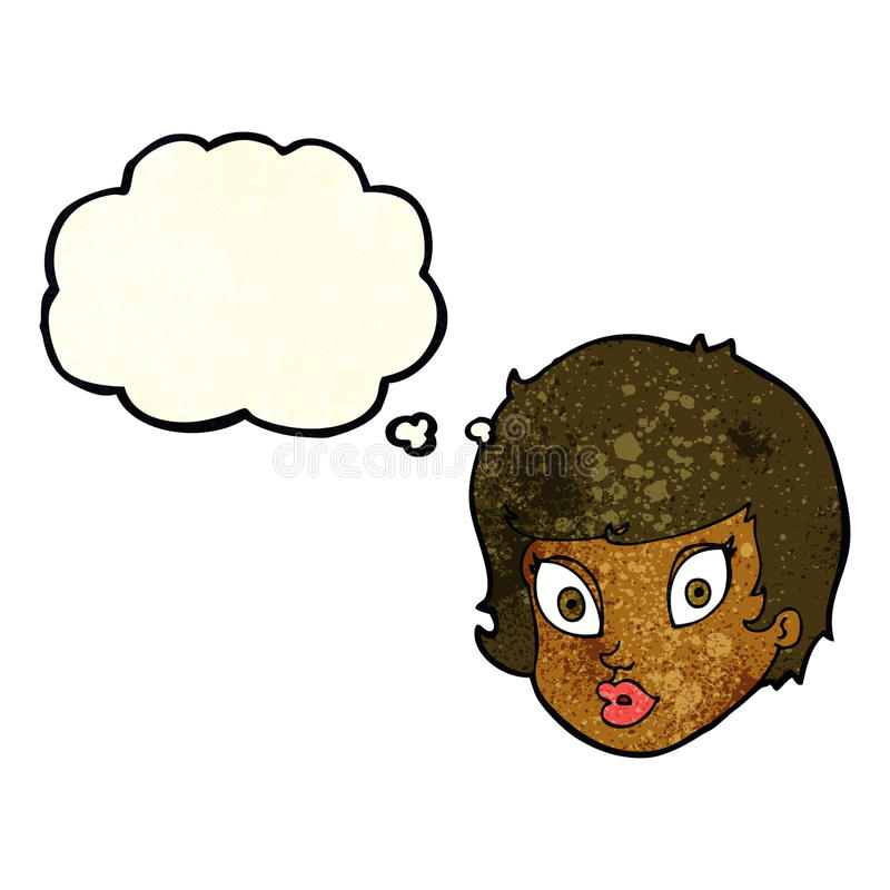Cartoon surprised female face with thought bubble stock illustration