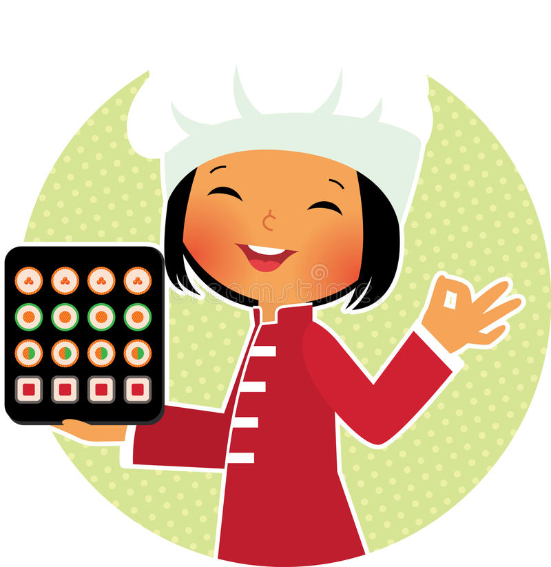 Cartoon sushi chef. Stock Vector cartoon illustration of a smiling chef holding a plate with sushi royalty free illustration