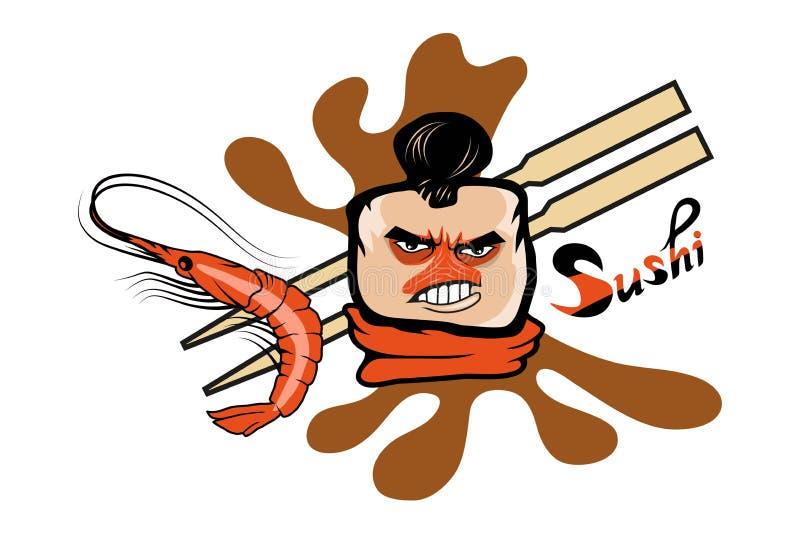 Cartoon sushi logo. Sushi lettering. Vector artwork stock illustration
