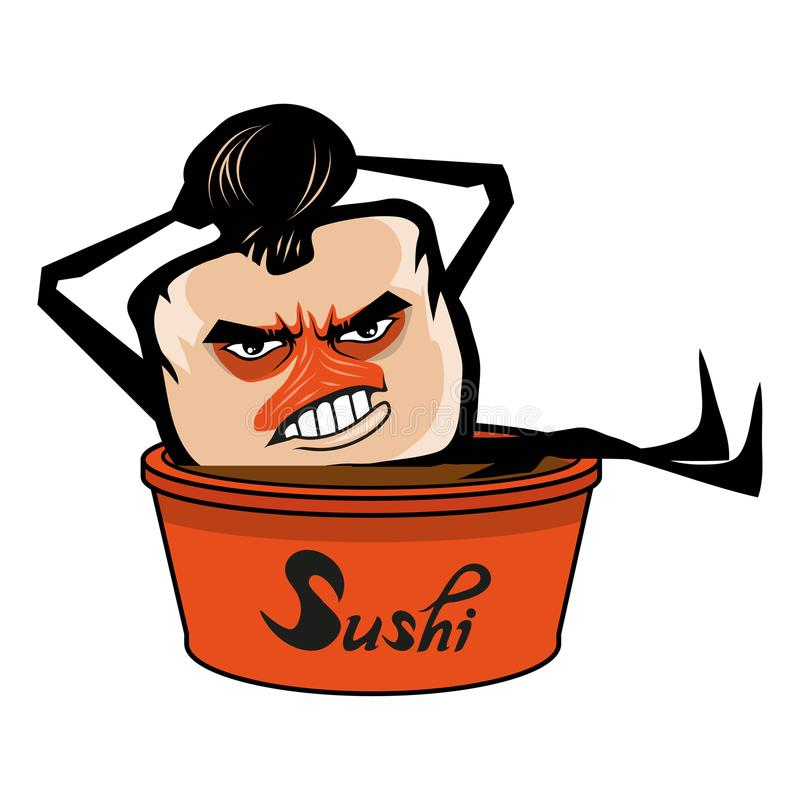 Cartoon sushi logo. Sushi lettering. Vector artwork royalty free illustration