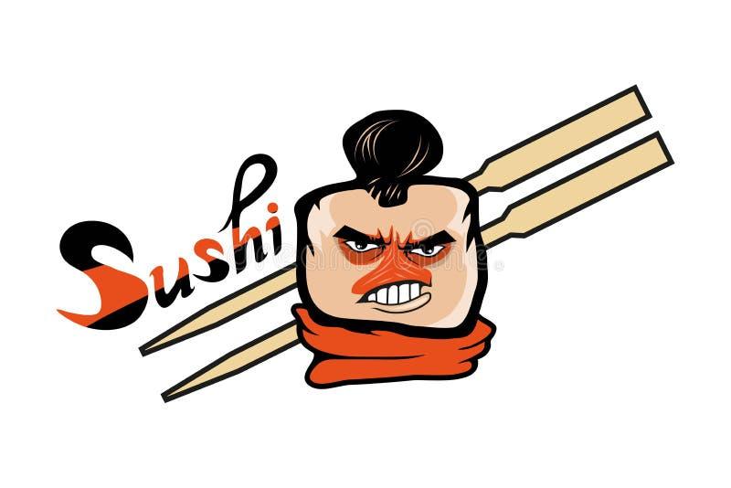 Cartoon sushi logo. Sushi lettering. Vector artwork vector illustration