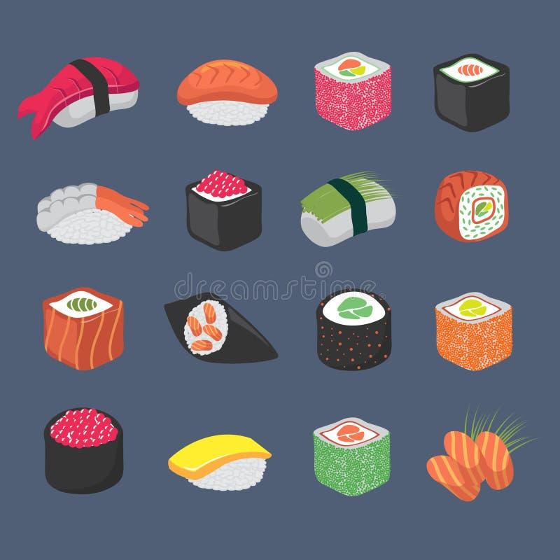 Cartoon sushi rolls japanese cuisine seafood vector set stock illustration