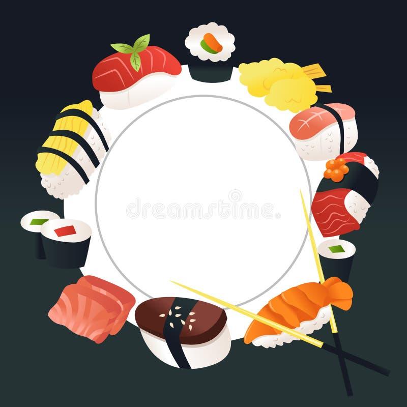 Cartoon Sushi Sashimi Copy Space Background. A cartoon vector illustration of sushi and sashimi around a white plate copy space background vector illustration