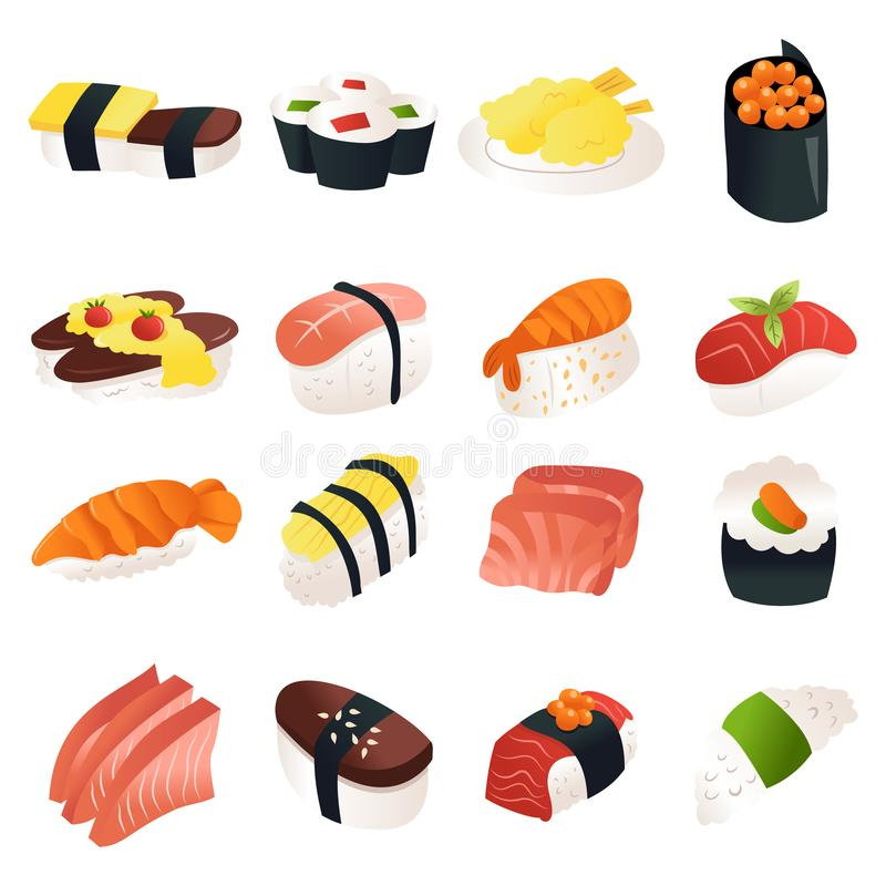 Cartoon Sushi Sashimi Icon Set. A cartoon vector illustration of 16 various sushi and sashimi japanese dishes stock illustration