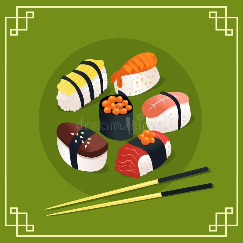 Cartoon Sushi Sashimi Japanese Background. A cartoon vector illustration of sushi and sashimi on green asian or japanese background royalty free illustration