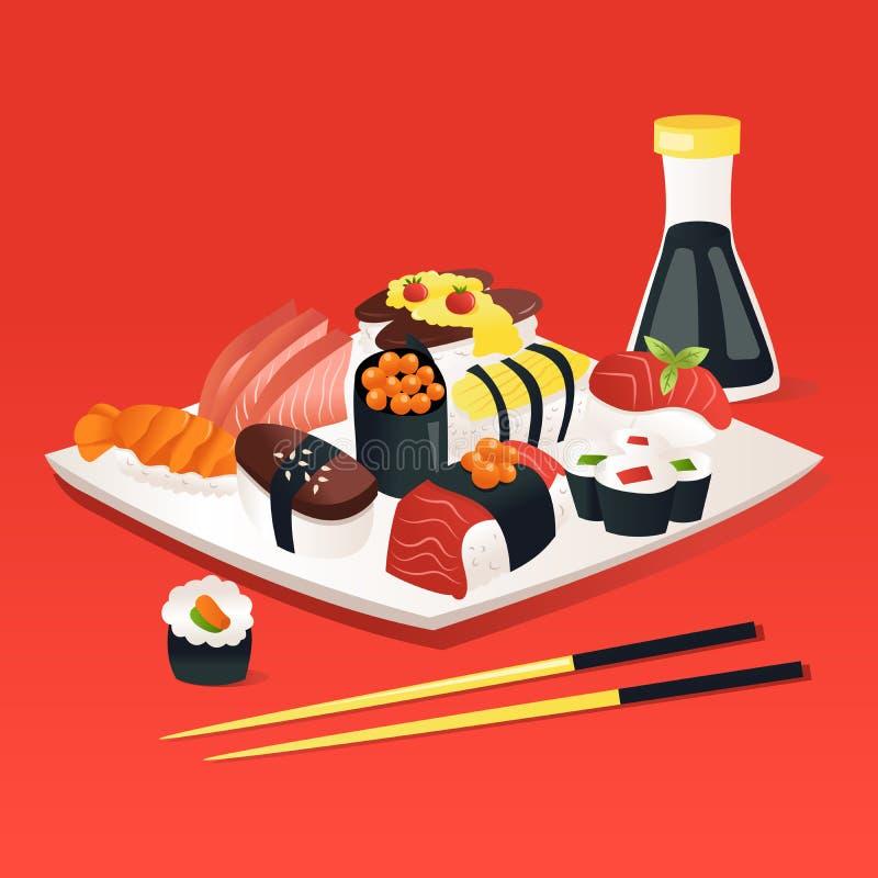 Cartoon Sushi Sashimi On A Plate With Soy Sauce Chopstick. A cartoon vector illustration of sushi and sashimi on a plate with soy sauce and chopstick with a red royalty free illustration