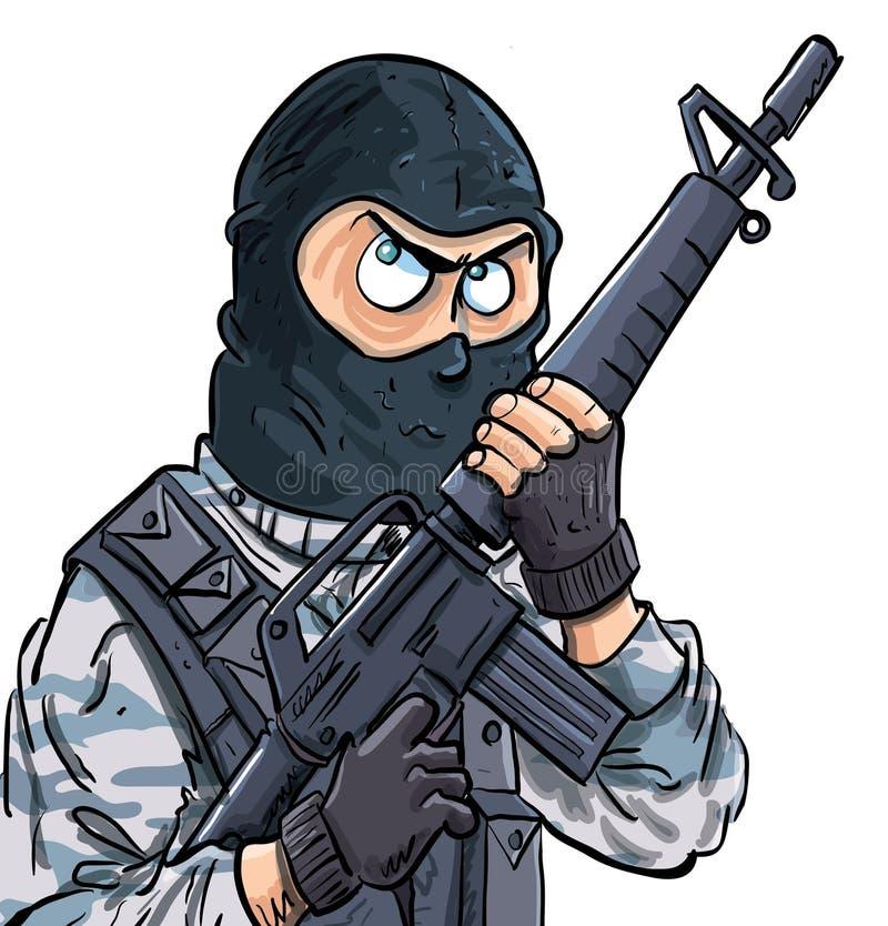 Cartoon SWAT Member With A Gun Stock Photo