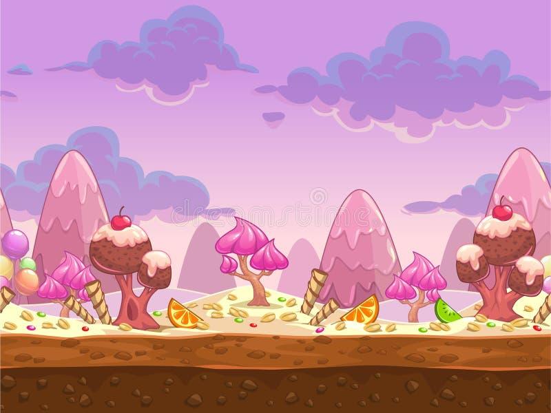 Cartoon sweet candy land seamless illustration royalty free illustration