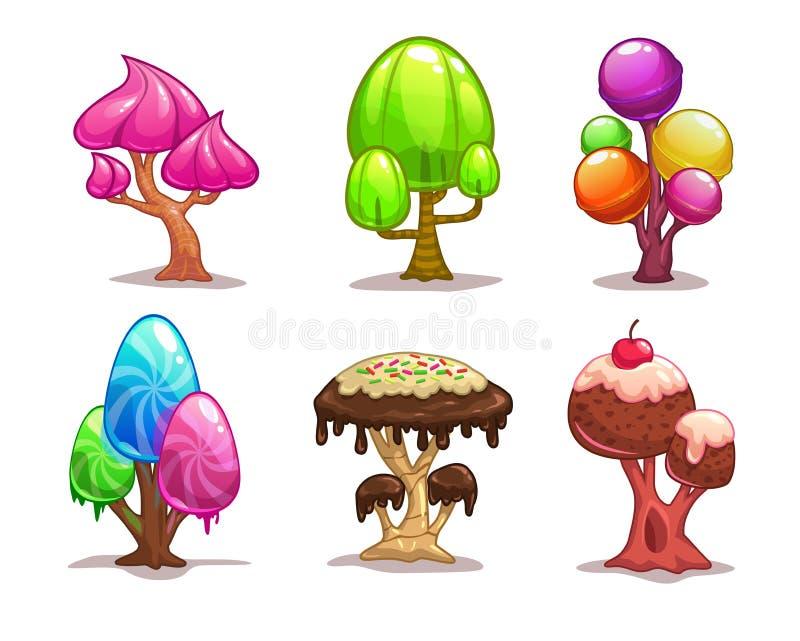 Cartoon sweet candy tree vector illustration