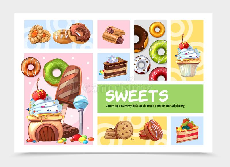 Cartoon Sweets Infographic Concept vector illustration