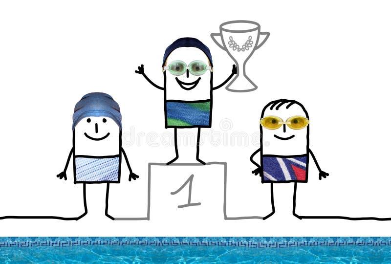Cartoon Swimming Champion Boy on Podium with Cup stock illustration