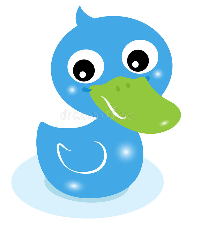Cute little blue rubber duck