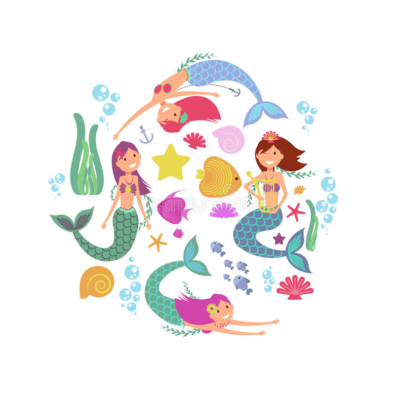 Cartoon swimming mermaids and sea underwater animals vector collection royalty free illustration
