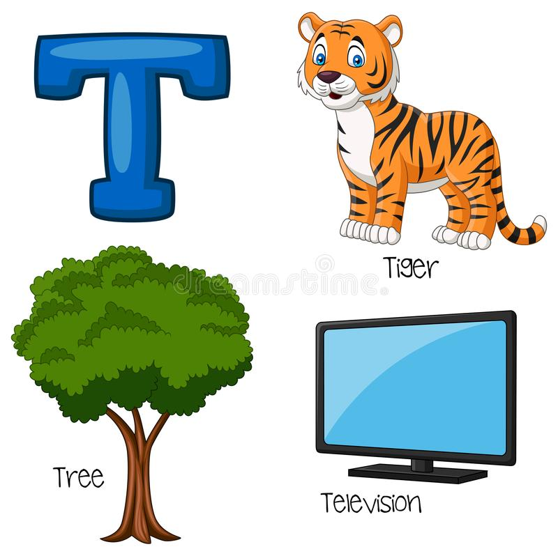 Cartoon T alphabet. Illustration of Cartoon T alphabet stock illustration