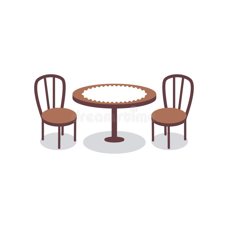 Cartoon table covered with white cloth for two people and wooden chairs icons. Furniture for dining room or cafe. Cartoon table covered with white cloth for two vector illustration