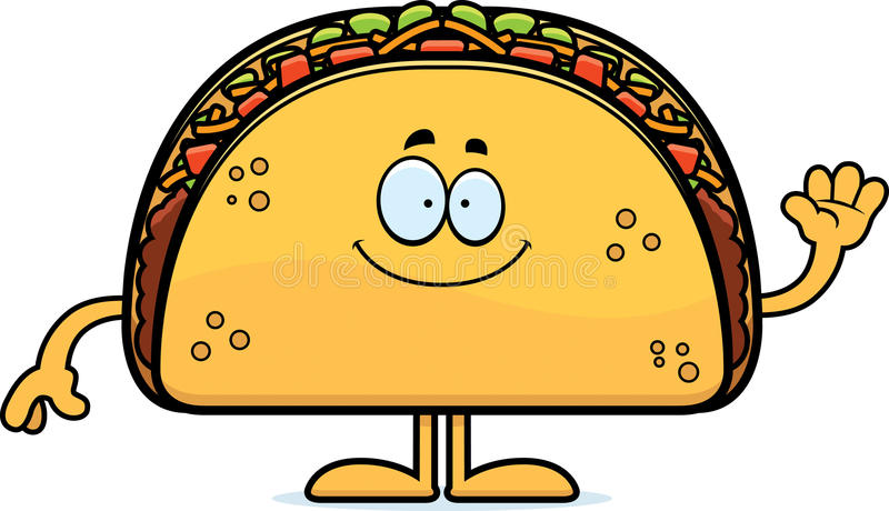 Cartoon Taco Waving stock illustration