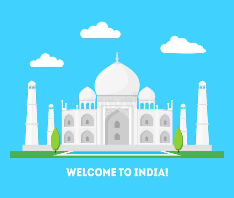 Cartoon Taj Mahal Symbol of India Background Tourism Concept. Vector royalty free illustration