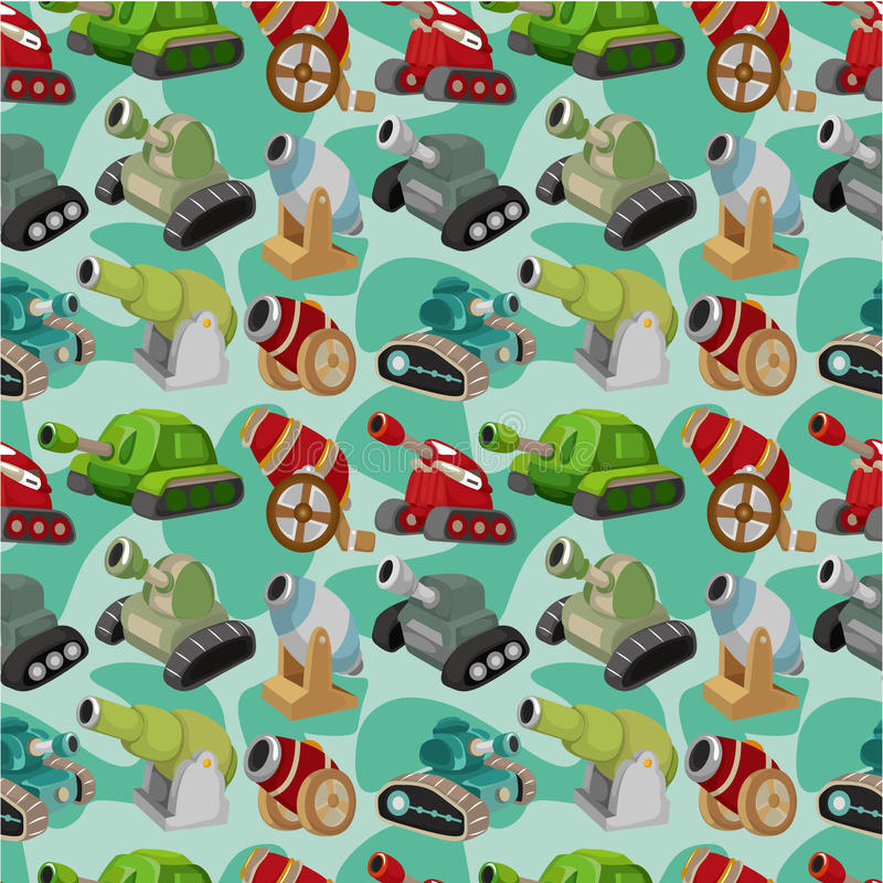 Download Cartoon Tank/Cannon Weapon  Seamless Pattern Stock Vector - Image: 19460489