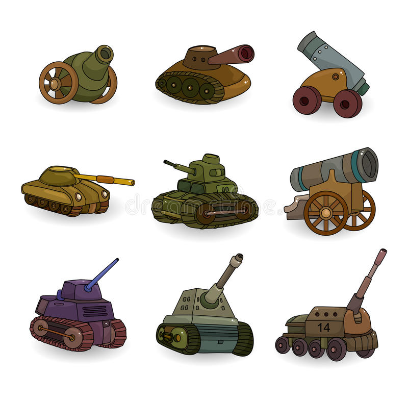 Download Cartoon Tank/Cannon Weapon Set Icon Stock Photography - Image: 19775882