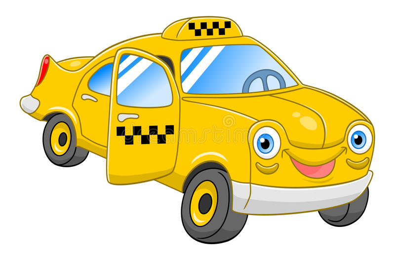 Cartoon taxi. Cartoon cute taxi with open door isolated on white background royalty free illustration