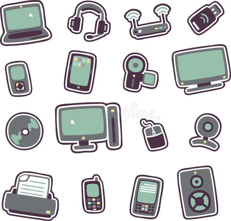 Cartoon technology icons 1. Vector illustration of cartoon technology icons 1 - Separate layers for easy editing royalty free illustration