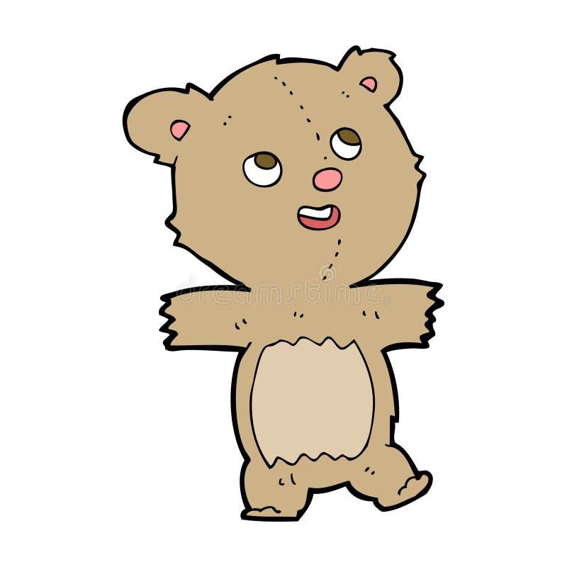 Cartoon teddy bear. Hand drawn cartoon illustration in retro style. Vector available royalty free illustration