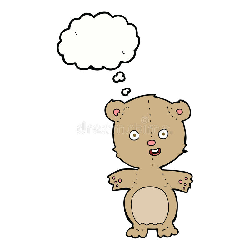 Cartoon teddy bear with thought bubble vector illustration