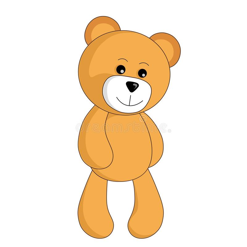 Cartoon teddy bear toy stands and cute smiles vector image for children. Cartoon teddy bear toy stands and cute smiles vector isolated image for children stock illustration