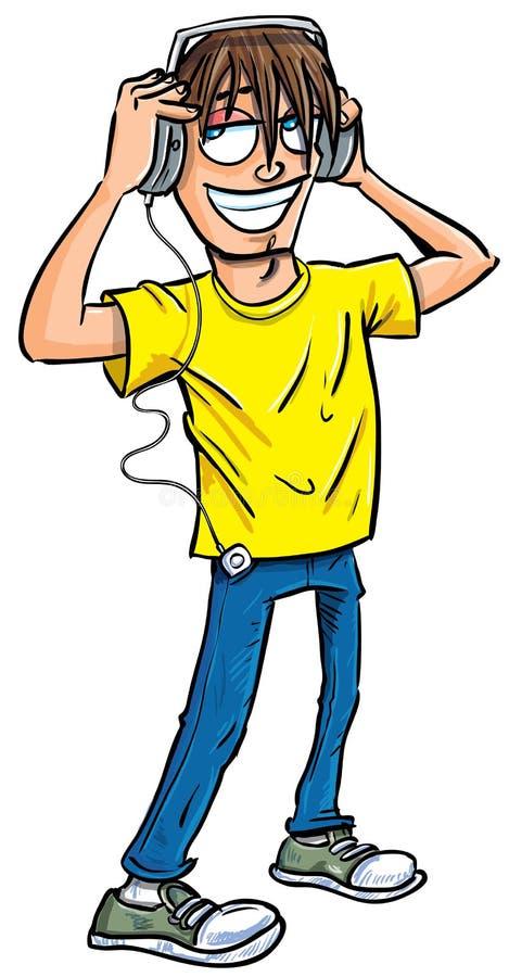 Download Cartoon Teenage Boy Listening To Music Stock Illustration - Image: 24728373