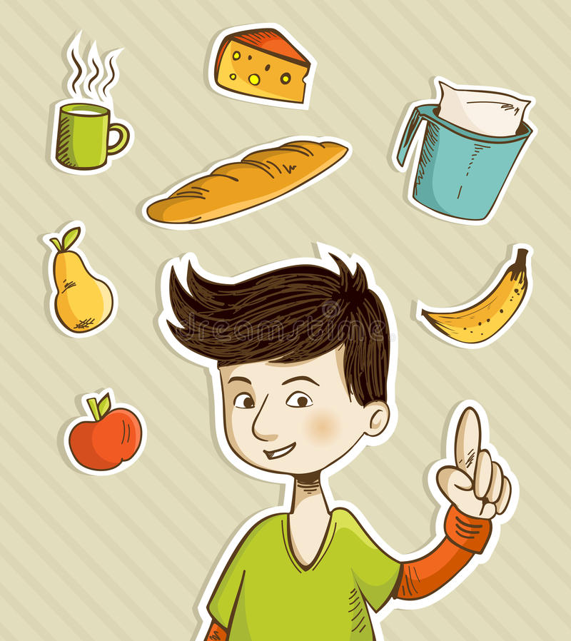 Cartoon teenager shows healthy food. Cartoon boy shows healthy food for breakfast: apple, banana, pear, cheese, bread, coffee and milk. Vector file layered for royalty free illustration