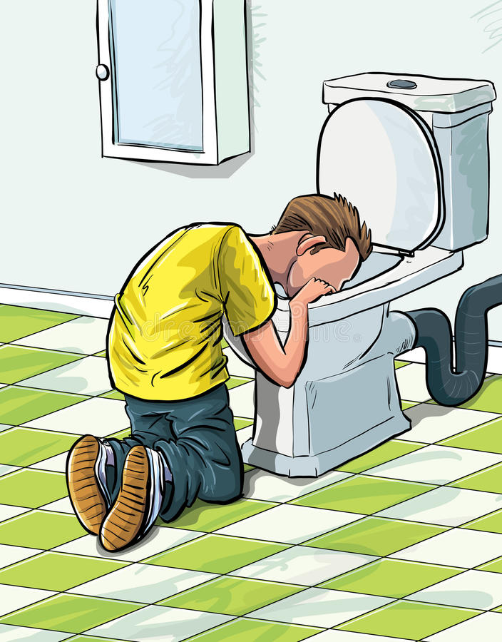 Download Cartoon Teenager Sick In Toilet. Stock Illustration - Image: 24998253