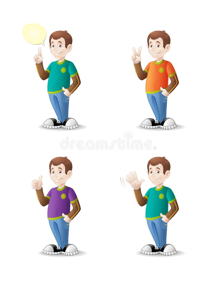 Cartoon teenager with various gestures royalty free stock photo