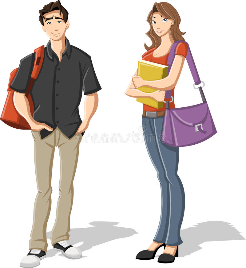 Cartoon Teenagers. Stock Photo