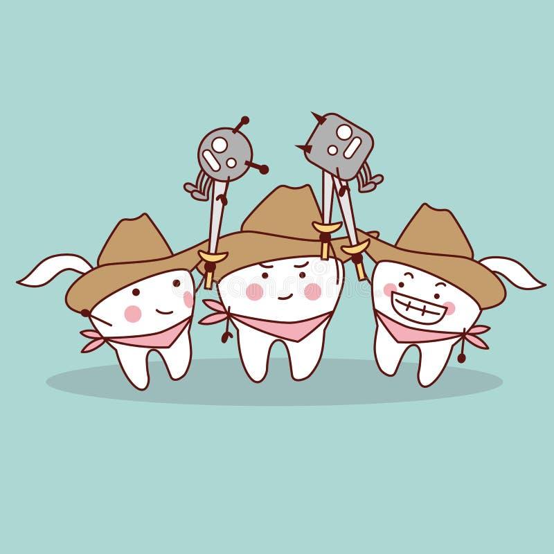 Cartoon teeth cowboy. Holding a sword to kill bacteria stock illustration