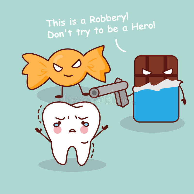 Free Cartoon Teeth Robbery By Dessert Stock Image - 72225571