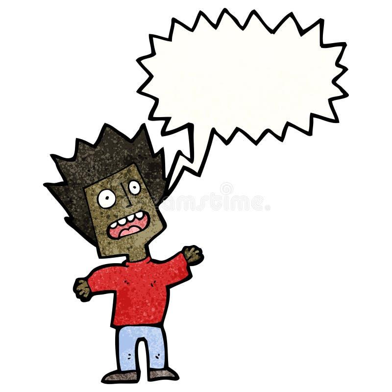 Cartoon terrified man. Retro cartoon with texture. Isolated on White stock illustration