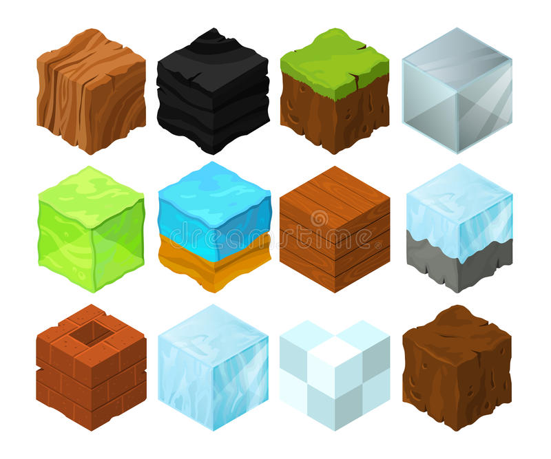 Cartoon texture illustration on different isometric blocks for game design. Isometric block sea and wood, cubical glass and coal stock illustration