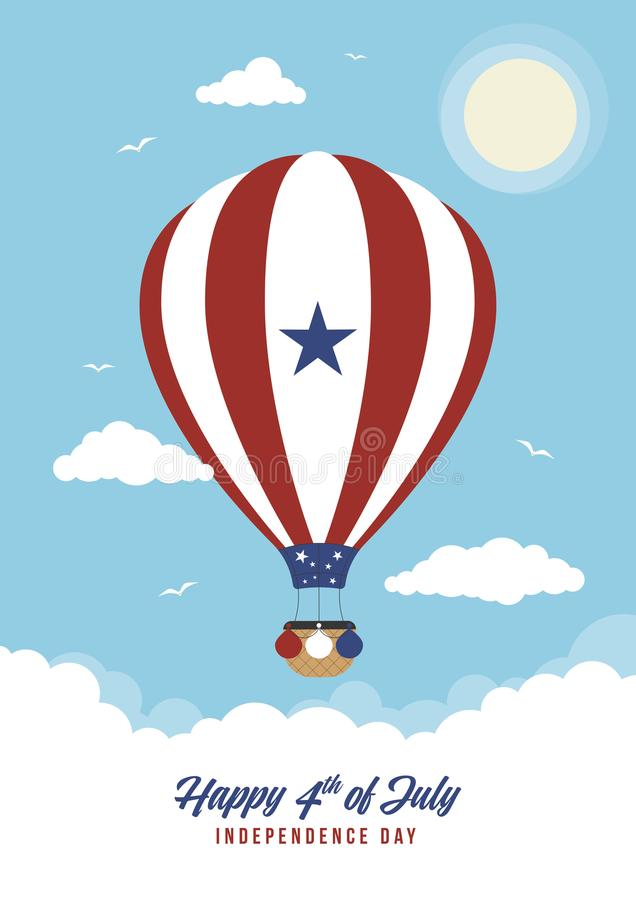 Cartoon 4th July Hot Air Balloon. A red and blue hot air balloon for the 4th of July / independence day vector illustration