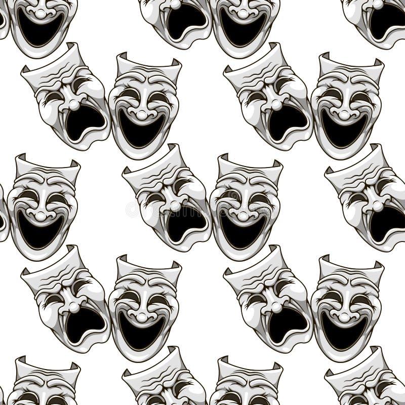 Cartoon theater masks seamless pattern stock illustration